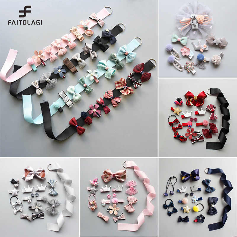 6/7/8/10/18pcs Multi-style Ribbon baby girl crown Bows Hairpins Barrettes baby hair Accessories kids Child Baby Girls Hair Clips