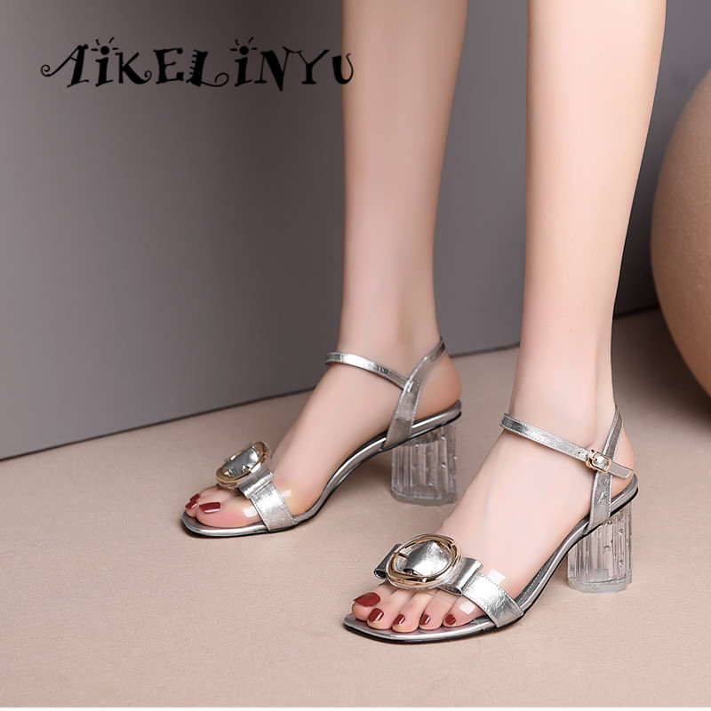 AIKELINYU 2019 New Fashion Sandals Genuine Leather Buckle Strap Transparent High Heels Woman Shoes Simple Office Female