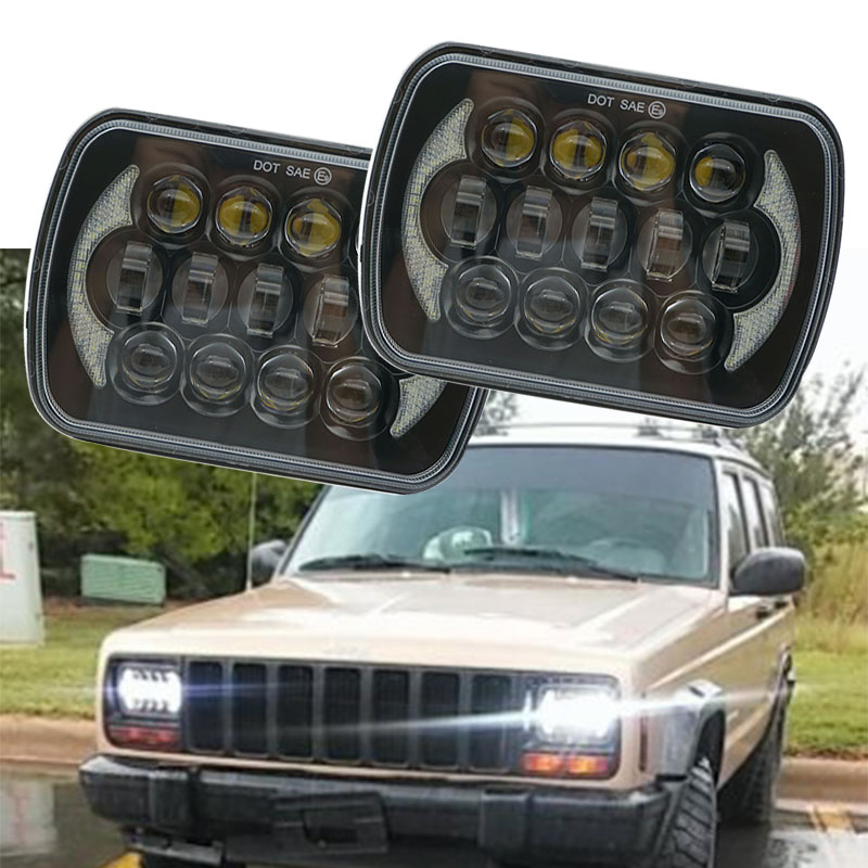 5X7 LED Headlights for Jeep Wrangler YJ Cherokee XJ Trucks 4X4 Offroad Headlamp Replacement H6054 H5054 H6054LL 69822 6052 6053 5 x7 6 x7 high low beam led headlights for jeep wrangler yj cherokee xj h6054 h5054 h6054ll 69822 6052 6053 with angel eye