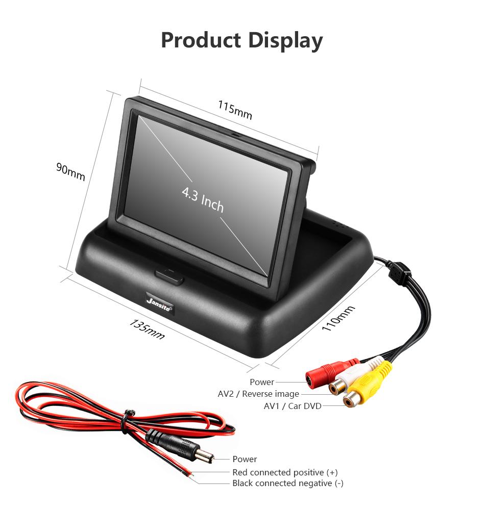"""Jansite 4,3 """"monitor de coche TFT LCD cámara de visión trasera. 12"""
