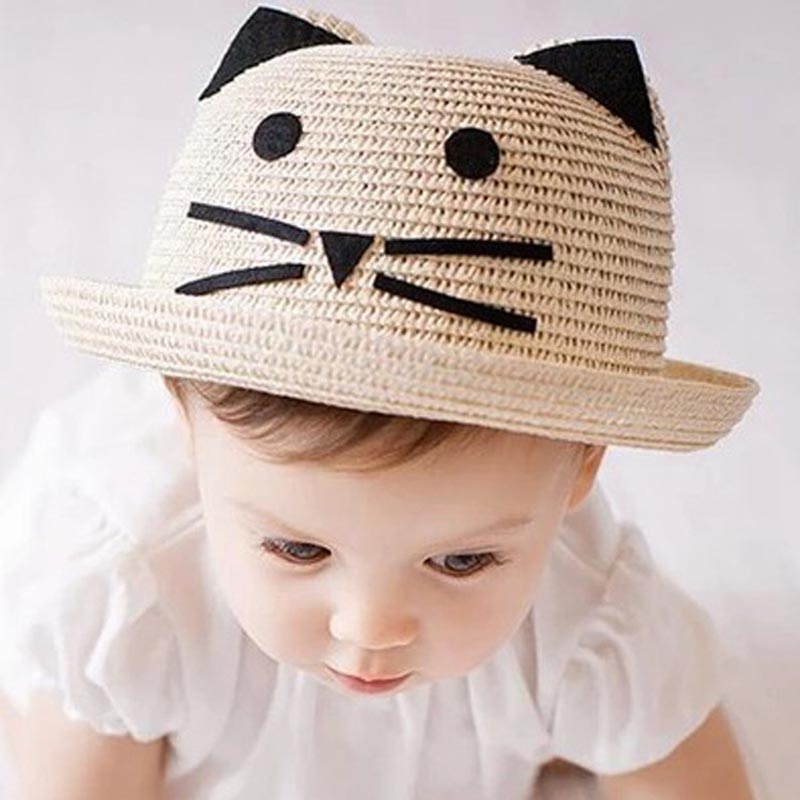 Fashion Children Straw Hat Lovely Cartoon Cat Ears Curling Sunscreen Girls Boys Summer Weave Cap Chapeu Feminino
