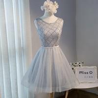 FOLOBE Vintage Grey Lace Mini Girls Dreses Pearls Tulle Luxury Beading Short Women Dresses Formal Prom Party Dresses Vestido Z24