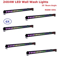 6 Pack Cheap Price 24X4W RGBW Quad Color LED Bar Wall Wash Lights DMX512 Washer LED Indoor Flood Lights 0 100% Linear Dimming