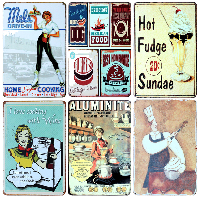 Hot Chef Baking Desserts Vintage Metal Signs Home Decor Vintage Tin Signs Pub Vintage Decorative Plates  sc 1 st  AliExpress.com & Hot Chef Baking Desserts Vintage Metal Signs Home Decor Vintage Tin ...