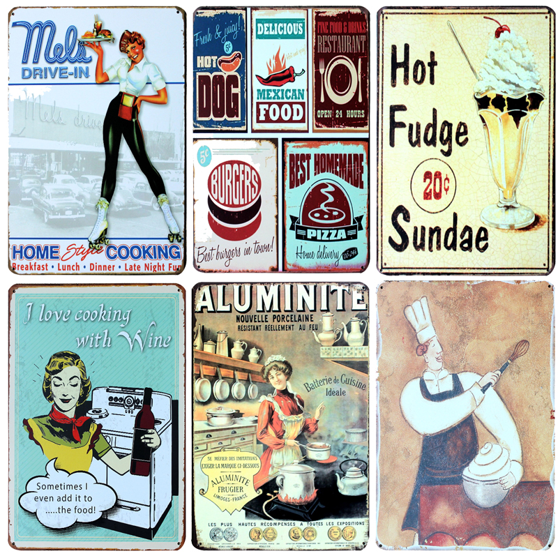Hot Chef Baking Desserts Vintage Metal Signs Home Decor Vintage Tin Signs Pub Vintage Decorative Plates Metal Wall Art