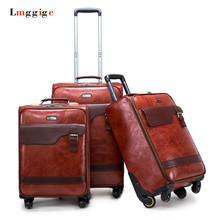 Commercial Travel Suitcase 22″24″Universal Wheel Trolley Luggage Bag with Rolling PU Leather Material Carry-On Case Carrier Box