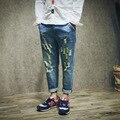 Men denim harem pants fashion casual men jean male loose vintage hole beggar jeans male hiphop jeans trousers size 28-36