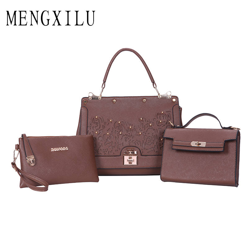 MENGXILU Fashion Flowers Womens Handbags 3 Set Composite Bag Luxury Handbags Women Bags Designer Sequined Women Crossbody Bag