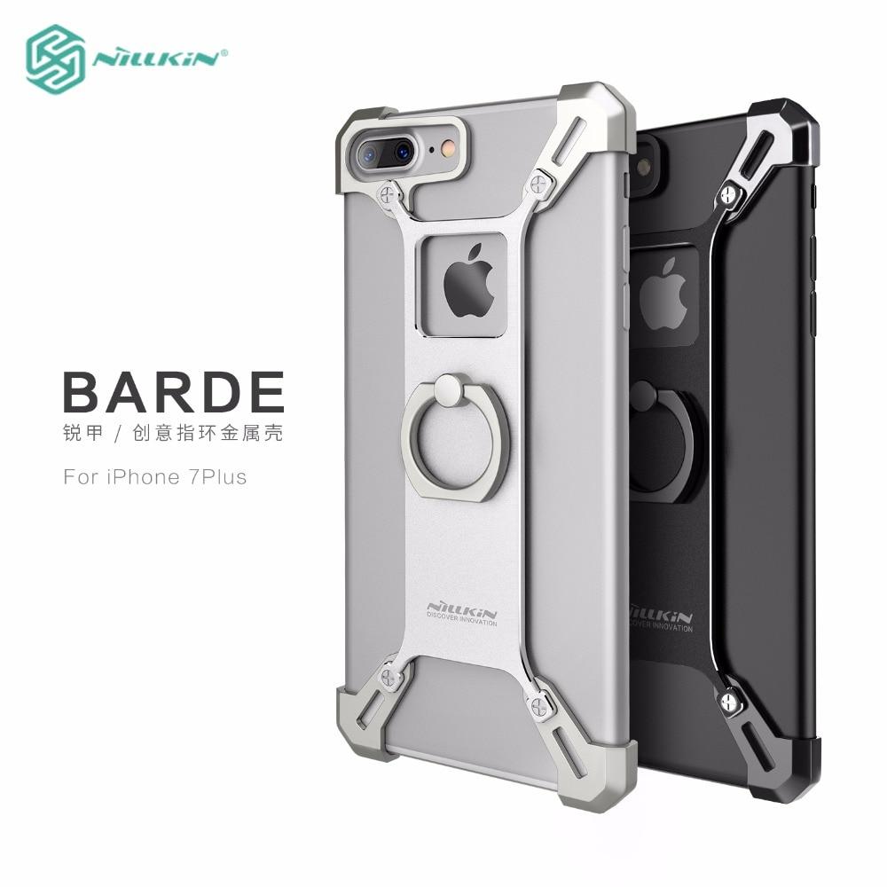 imágenes para Nillkin parachoques para apple iphone 7/7 plus case cubierta de metal frame case para iphone7 plus cubierta a prueba de golpes protector + soporte del anillo