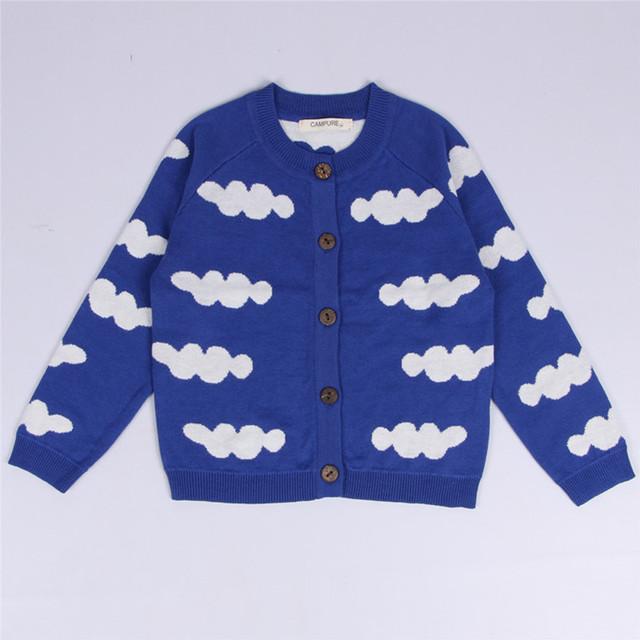 2016 outono criança roupas de bebê das meninas dos meninos camisola casaco nuvens padrão menino crianças camisola de malha casaco cardigan único breasted