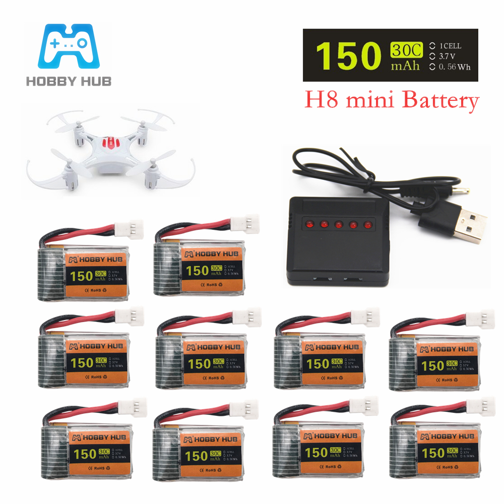 10pcs/lot 3.7V 1S 150mAh and X5 USB Charger for H8 Mini Lipo Battery Eachine H8 RC Quadcopter parts