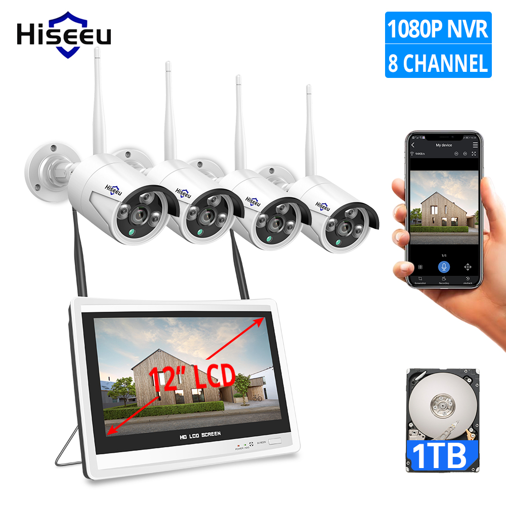 1080P 8CH Wireless CCTV Security Camera System H.265 12 Inch LCD Screen NVR WIFI Outdoor IP Camera 2MP 1T HDD