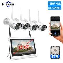 Sistema de cámaras de seguridad CCTV inalámbrico, 1080P, 8 canales, H.265, pantalla LCD de 12 pulgadas, NVR, WIFI, cámara IP para exteriores, 2MP, 1T, HDD
