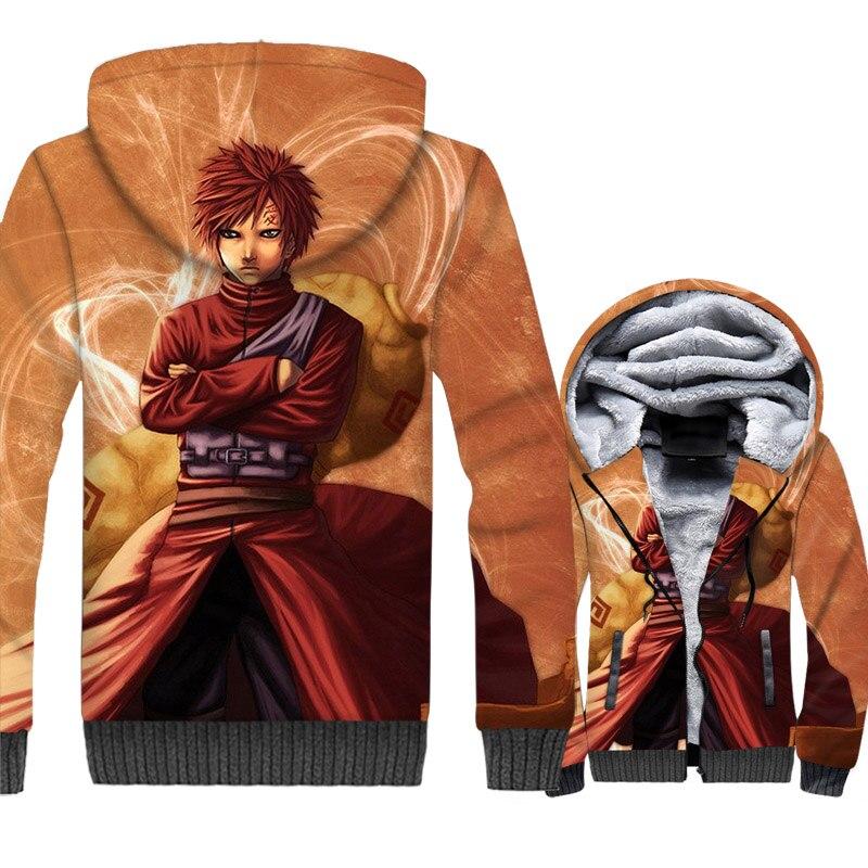 Anime Uzumaki Naruto hooded tracksuit SABAKUNO GAARA 3D Print jackets 2019 winer swag coats men zip wool liner casual sweatshirt