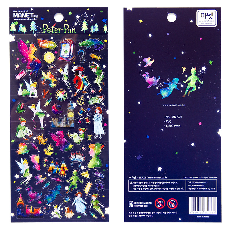 Petter Pan Alice Decorative Stickers Scrapbooking Stick Label Diary Stationery Album Stickers