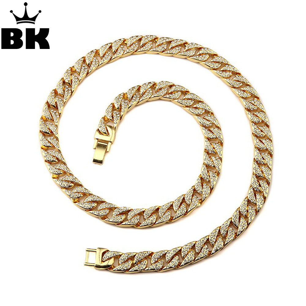 Mens Thick Cuban Link Chain Alloy Gold Chain Iced Out Rhinestone Jewelry Size 15mm*30inch