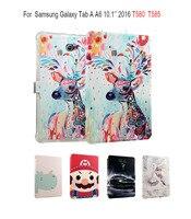 Bức Tranh đầy màu sắc PU Leather Lật trường hợp Đối Với Samsung Galaxy Tab một A6 10.1 2016 T580 T585 SM-T580 smart Cover Tablet Funda