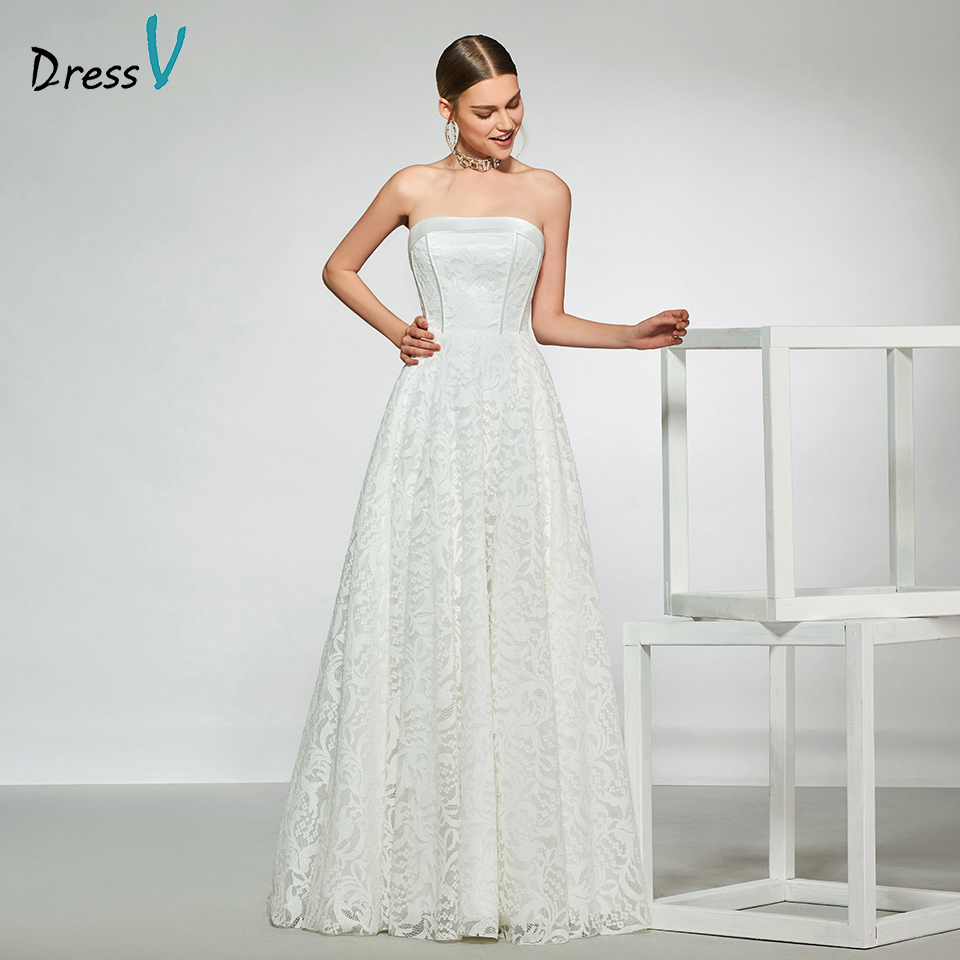 Dressv elegant sample strapless neck wedding dress sleeveless lace a line floor length simple bridal gowns wedding dress