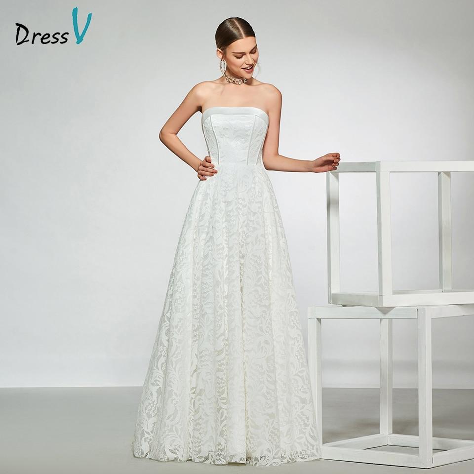 Dressv Elegant Sample Strapless Neck Wedding Dress