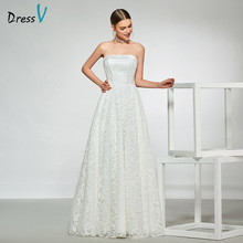 Dressv elegant sample strapless neck wedding dress sleeveless lace a line floor length simple bridal gowns
