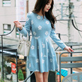 Coreia do estilo mulheres dress zíperes do joelho-comprimento da manga o-pescoço da cópia da flor de lã cintura império vestidos belle do sul moda f6757
