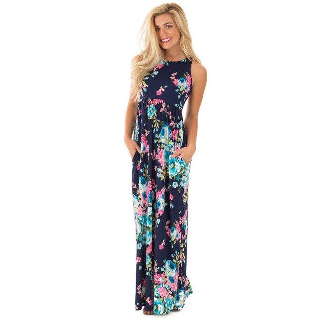 1a5468ca29 2017 verano largo Maxi vestido de alta Cintura con elástico impreso Floral  Sundress Sexy de hombro