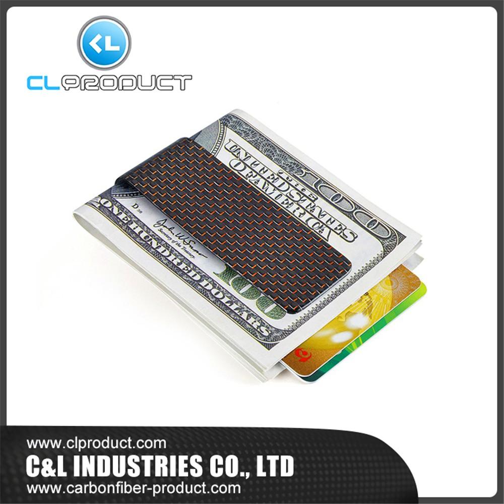 Carbon fiber money clip Red M (4)