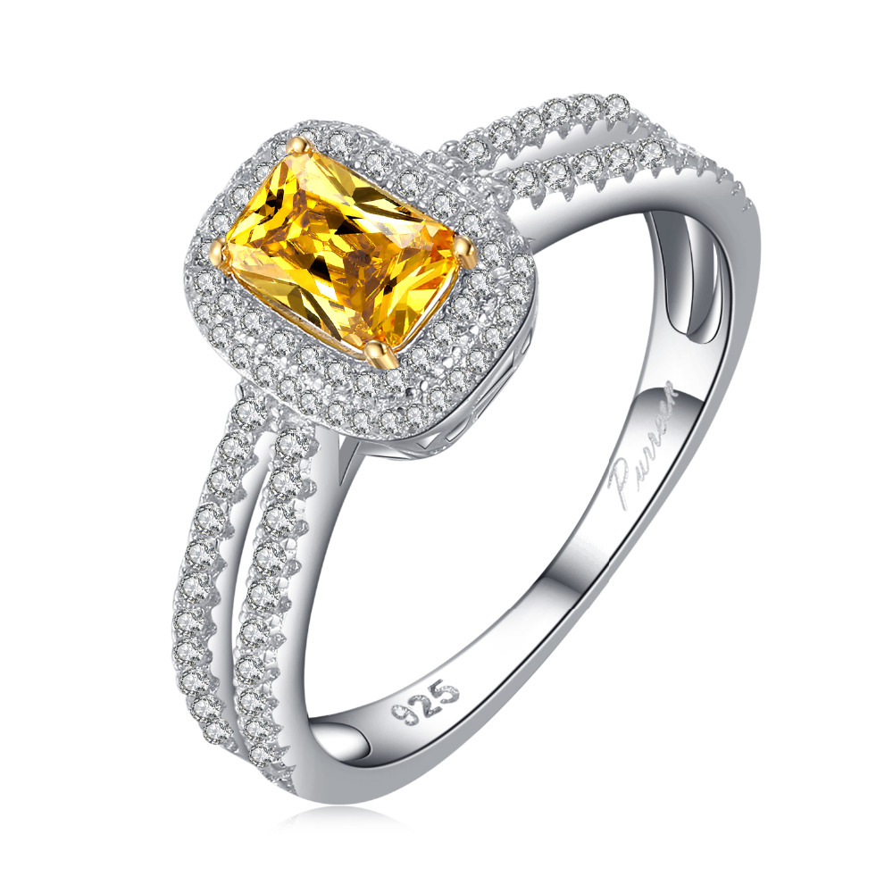 PURREEN Women Engagement Wedding Sliver Jewelry Yellow ...
