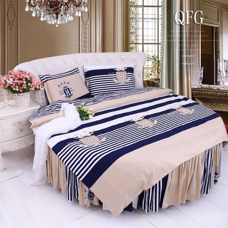 Bedding 2019 Latest Design Round Bed Crown Design Bedding Kit Super California King Size Sweet Duvet Cover Pillowcase Bedskrit Set Round Bedding 4pcs Set