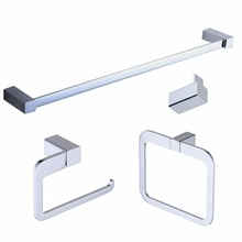 цена на Beelee Bathroom Accessories Set, Wall Mounted Towel Bar,Towel Hook,Towel Rack,Toilet Paper Holder,Chrome