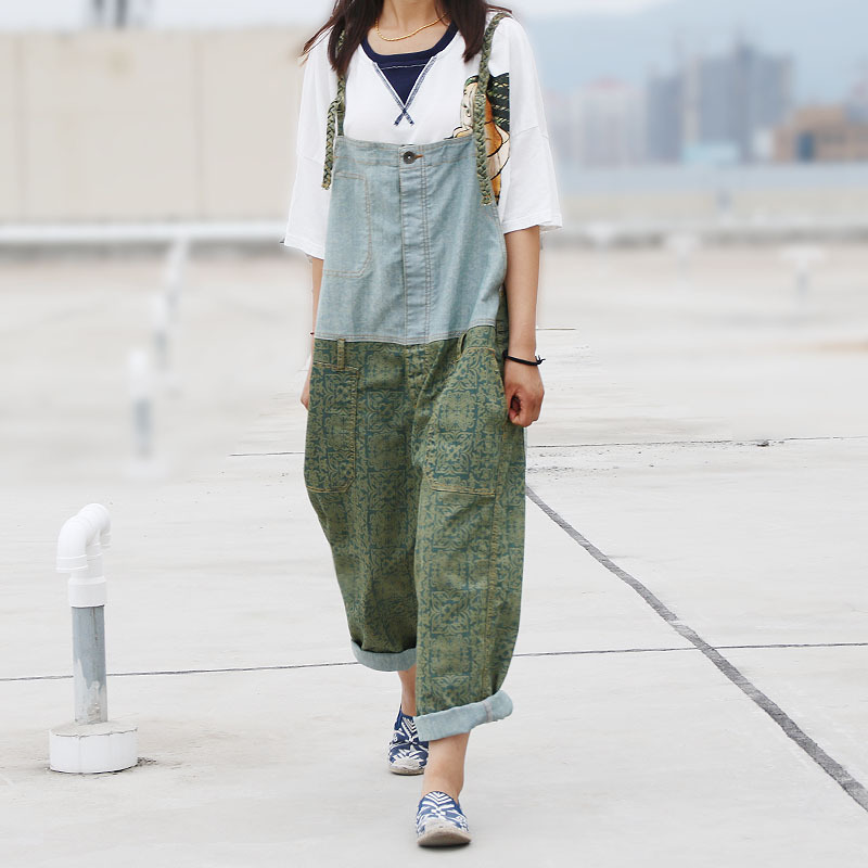 Women Patchwork Denim Jumpsuits ladies 2016 Fashion Overalls Splcing Pants Trousers Female Loose Pants Jeans