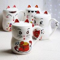1PC New Cute Cat Style Ceramic Mugs With Lid Cartoon Creative Moring Mug Milk Coffee Tea