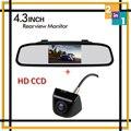 """Atacado Sem Fio 4.3 """"Tela Tft a cores de Monitor de Espelho de Carro com 170 graus de largura Mini CCD Backup Invertendo Estacionamento Câmera Auxiliar"""