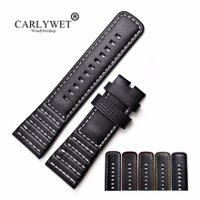 CARLYWET 28mm Wholesale Real Leather With Black White Orange Red Yellow Stitches Wrist Watch Band Strap Belt For SevenFriday sevenfriday p3b 01 sevenfriday