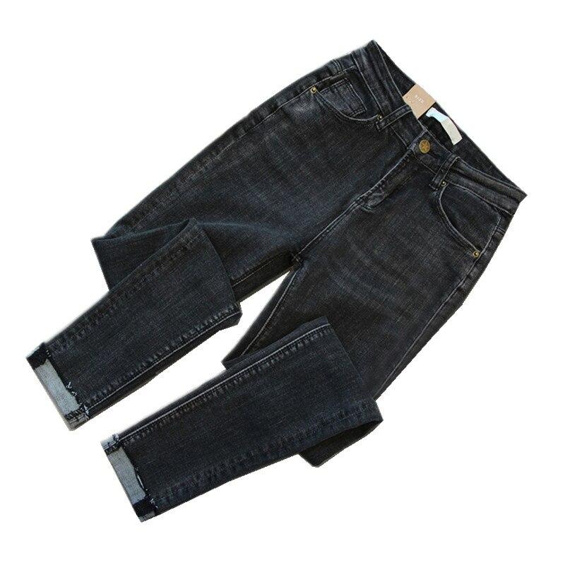 Plus Size High Waist   Jeans   Woman Autumn Stretch Denim Pants   Jeans   Mujer Black Trousers Women Pencil Pants   Jeans   Feminino C3721