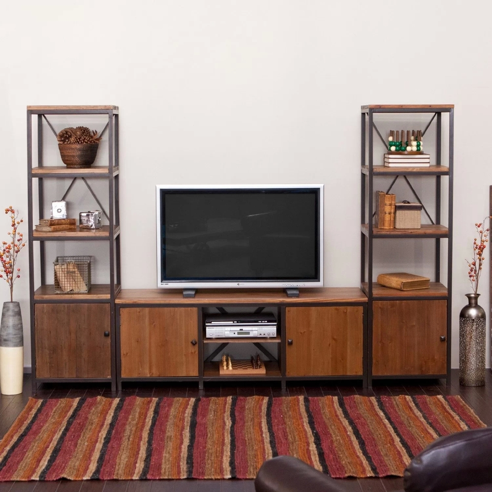 American Retro TV Cabinets Wrought Iron Wood Living Room Cabinet Decorative Wall Shelf Bookcase Storage In Children From