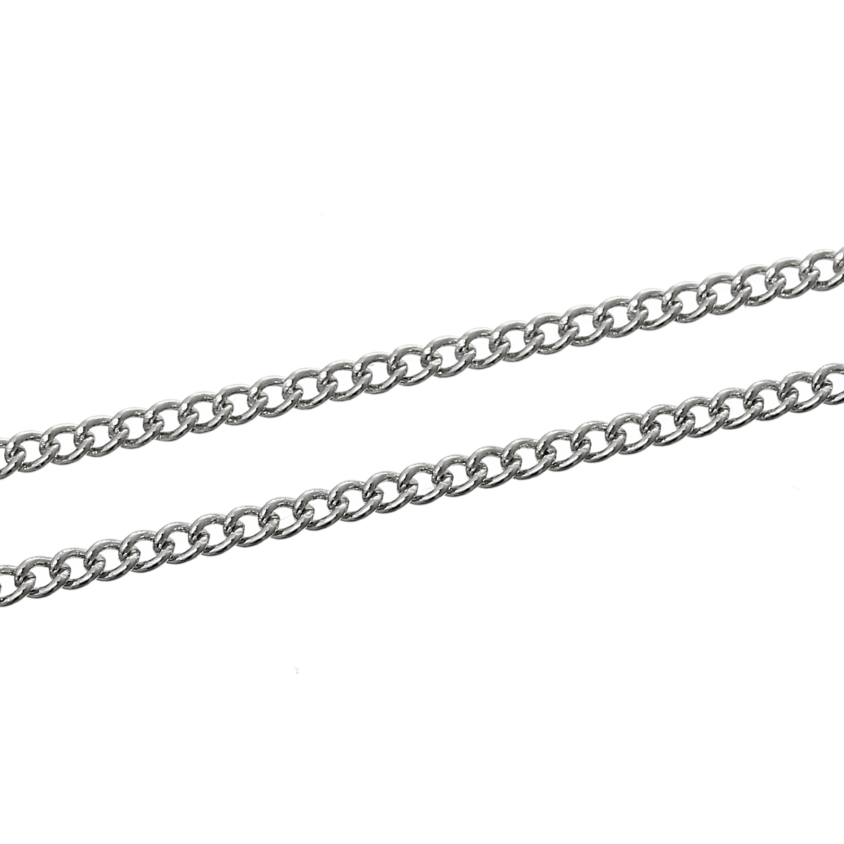 DoreenBeads Alloy Links Curb Chains Silver Tone 2mm X 1.5mm, 2 M 2015 New