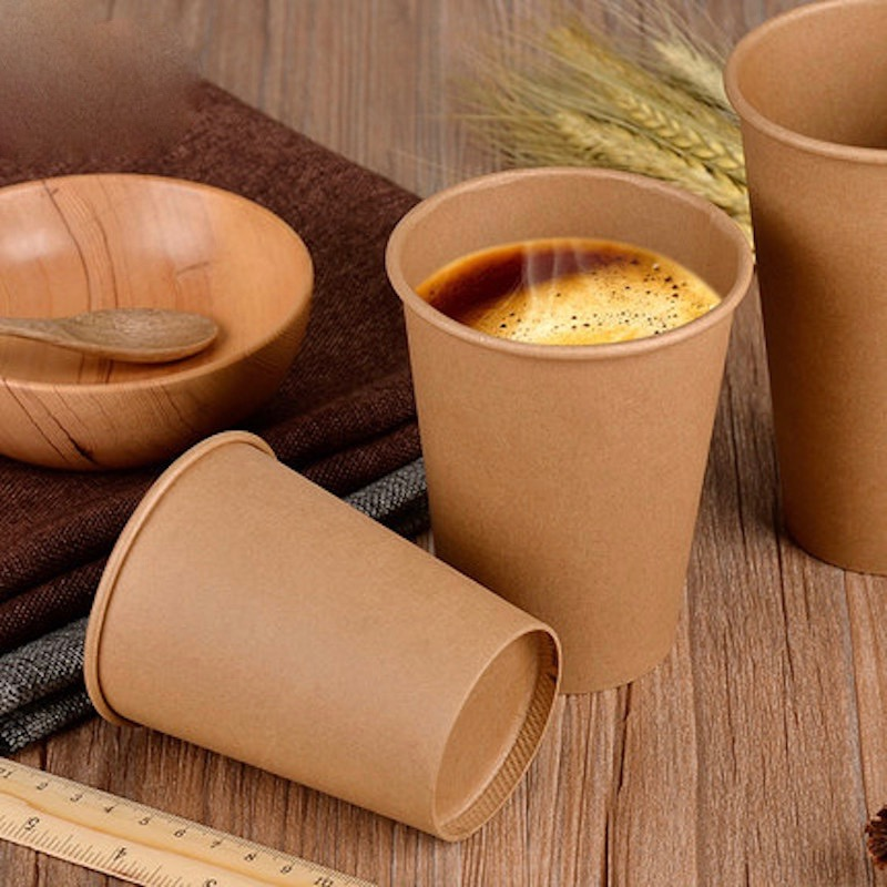 100x 8oz 12oz 16oz 240 530ml Disposable Kraftpaper Coffee