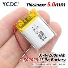 3,7 в 200 мАч 502025 литий-полимерный Li-Po литий-ионный аккумулятор Lipo ячеек для MP3 MP4 Динамик для игрушек тахограф POS