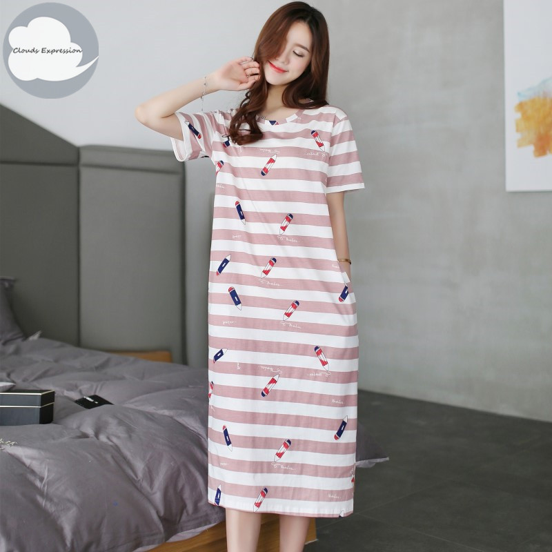 Summer Knitted Cotton Women's   Nightgown   Nightdress Striped Print Sleepwear Casual Nightwear Loose   Nightgowns   Fashion   Sleepshirts