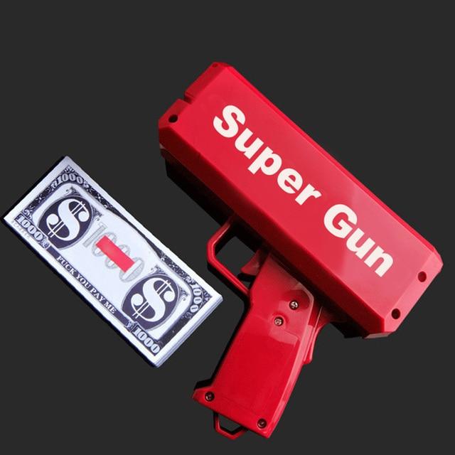 TUKATO Far Piovere Soldi Pistola Rosso Cash Cannone Super Pistola Giocattoli 100PCS Fatture Party Game Divertimento Allaria Aperta di Modo regalo di Pistola Giocattoli