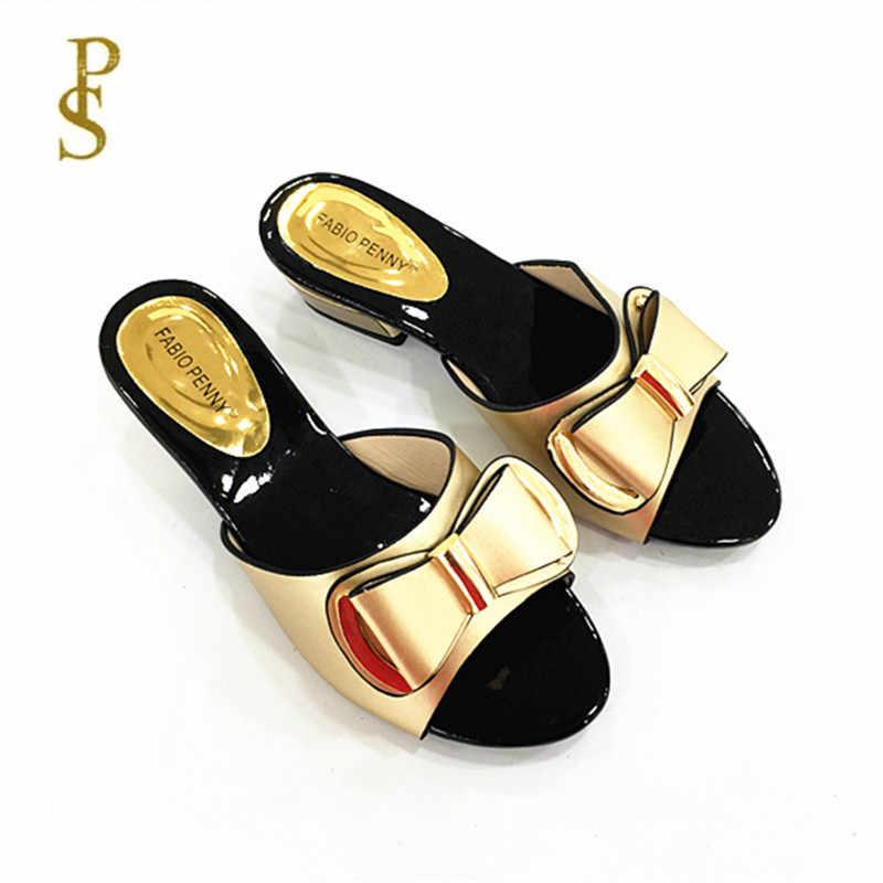Фото Красивая женская обувь женские тапочки на низком каблуке