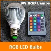 [E27 RGB LED de La Lámpara] 9 W AC85-265V llevó La Lámpara Del Bulbo con Control Remoto de múltiples colores llevó la iluminación del envío gratis
