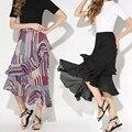 Babados Chiffon preto Saia Longa 2016 Mulheres Verão Saia De Cintura Alta Listrado Floral Impressão Elegante Maxi Saias Moda saia midi