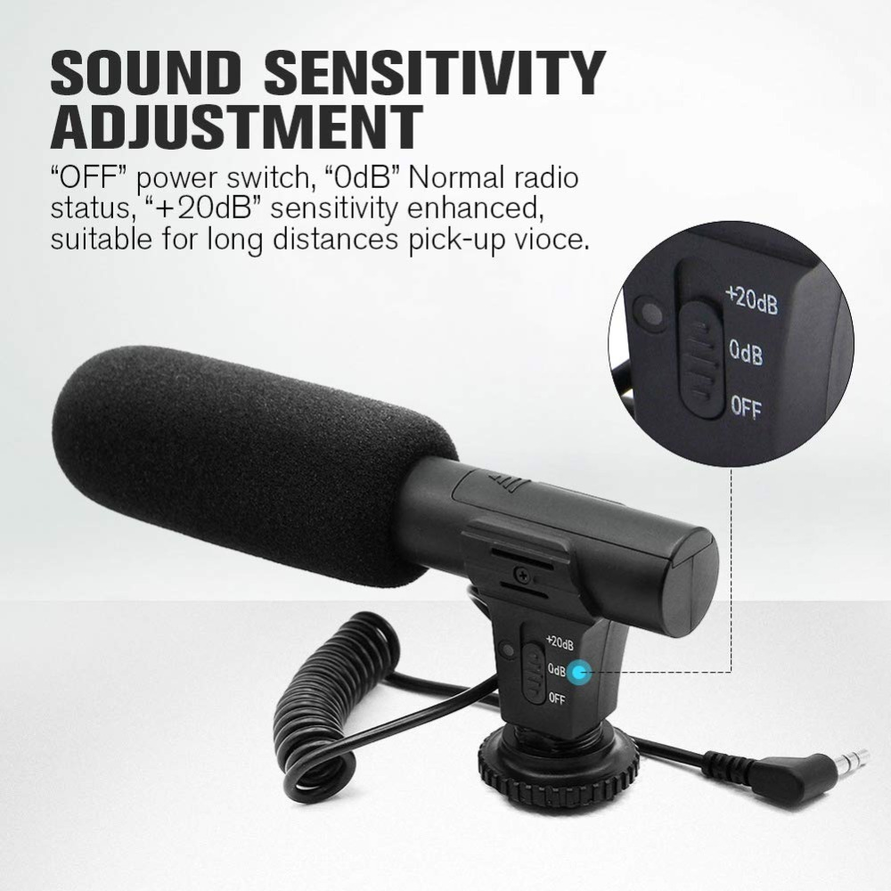 Lightweight Portable Cardioid Condenser Pickup HD Sound Resolution On-Camera Microphone Video Recording Mic with Furry Windshield for Camera Camcorder Phone Serounder Video Microphone