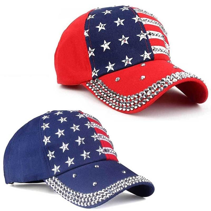 Genbitty High Quality Spring And Summer Star Pattern Baseball Cap Rivet Printed Women Men American Flag Snapback Hip Hop Hats