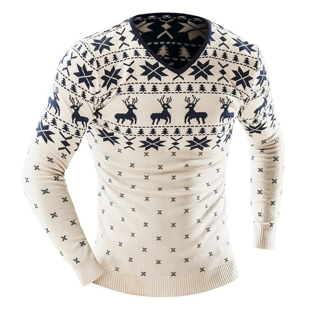2017 Autumn Winter Pullover Men Christmas  Sweater Jumper V Neck Deer Pattern Slim Fit Knitted Christmas Sweaters Knitwear 3