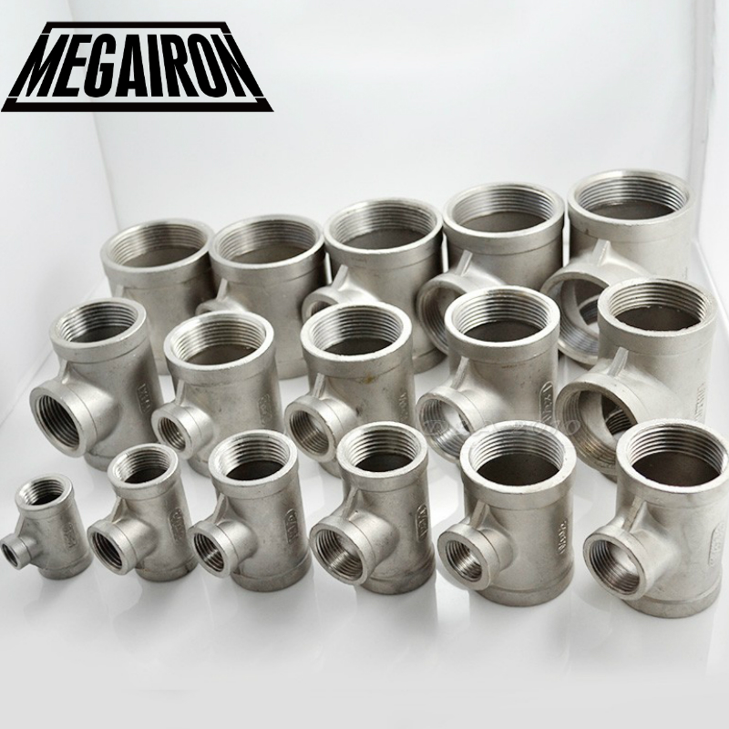 MEGAIRON 2to 1-1/2to 2 Female Tee Threaded Reducer Pipe Fittings F/F/F Stainless Steel SS304 New High QualityMEGAIRON 2to 1-1/2to 2 Female Tee Threaded Reducer Pipe Fittings F/F/F Stainless Steel SS304 New High Quality