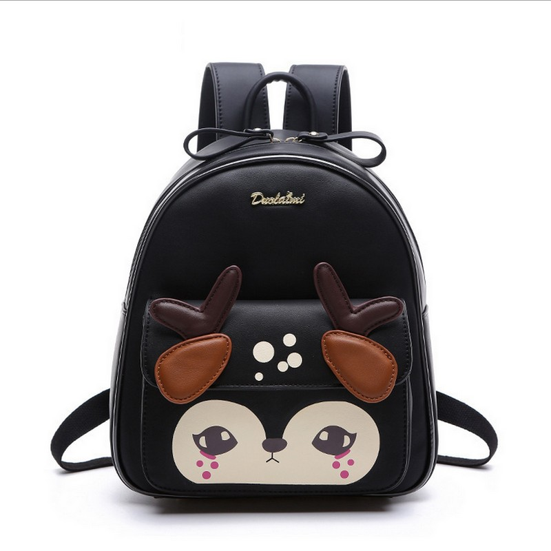 Fashion Backpack Women Pu Leather Back Pack Famous Brand School Bags for Girls sac a dos femme with Purse and fawn new sailor moon black pu leather backpack women shoulder rucksack 2016 school bags for teenage girls brand sac a dos femme