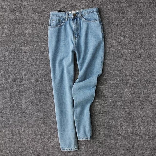 Vintage ladies boyfriend jeans for women mom high waisted jeans blue casual pencil trousers korean streetwear denim pants 3